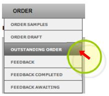 Outstanding orders - initial screen