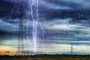 Power transmission tower storm